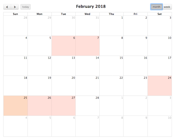 Background Events - Docs | FullCalendar