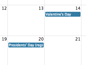 Screenshot: US holidays from Google Calendar